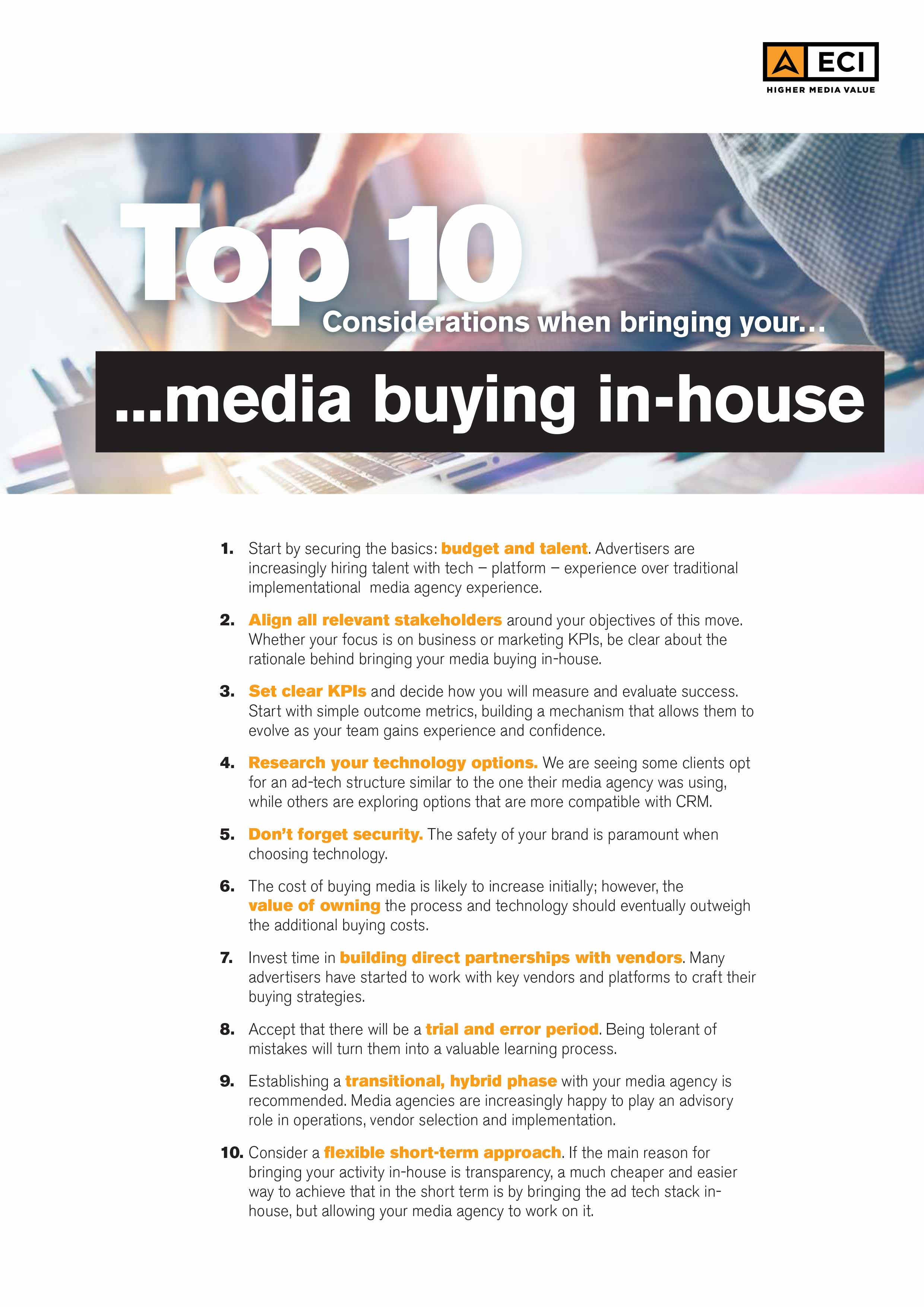 Top 10 | Considerations when bringing your media buying in